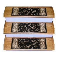 "Premium Stair Treads, Set of 13, Ivory/Border Color Brown, 26""x9"" Tread Set"