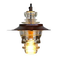 "Insulator Light LED Pendant Lantern 7"" Metal Hood, 120V, 6W 580 Lumens"