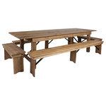 Offex - Offex 9'x40'' Antique Rustic Folding Farm Table And Four Bench Set - Description:
