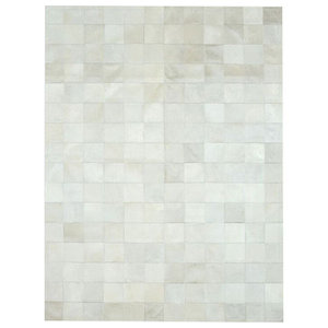 Patchwork Leather Cubed Cowhide Rug, White, 200x300 cm