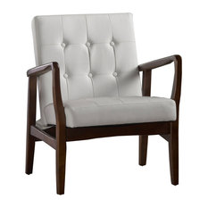 Conrad Mid Century Modern Faux Leather Club Chair with Wood Frame