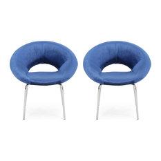 Denise Modern Glam Velvet Dining Chair Set Of 2 Navy Blue/Silver