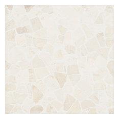 "11.81""x11.81"" Countryside Tumbled Gray Mosaic Tile, White"