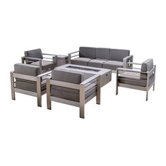 GDFStudio - Coral Bay Outdoor 7-Piece Club Chair Set With 3 Seat Loveseat and Firepit, White - Outdoor Lounge Sets