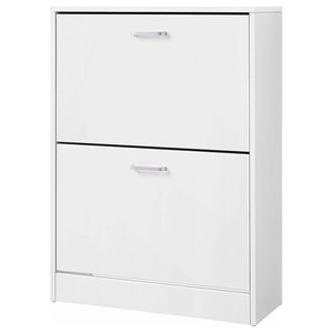 Contemporary Shoes Storage Unit, Wood With Deep Compartments, White