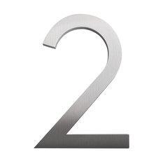 """Modern Font House Number, Brushed, 12"""", Number 2"""