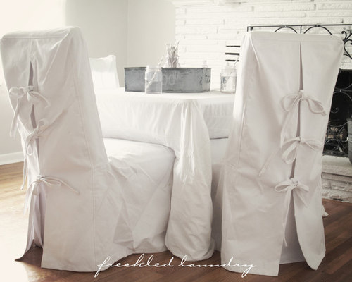 Custom Shabby Chic Parsons Dining Chair Covers In White Canvas Cotton    Dining Chairs