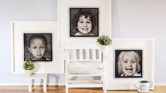 Stencilled Painted Wall with matching prints and box frames