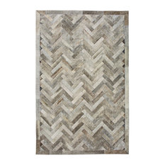Cowhide Patchwork Rug, Plutus, Ashen, 8'x10'