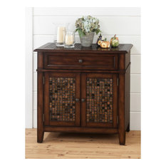 Baroque Brown Accent Cabinet with Mosaic Tile Inlay by Jofran