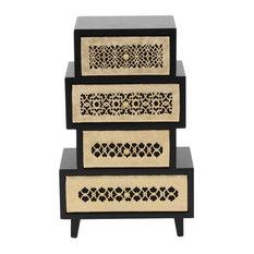 Modern Stacked Design Rectangular 4-Drawer Jewelry Chest, Black