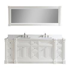 """Art Bathe Avenue 84"""" Vanity Set in Solid Surface Quartz Top, White"""