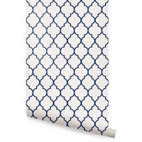 "Moroccan Small Pattern Wallpaper, Navy, Peel and Stick, 24""x48"""