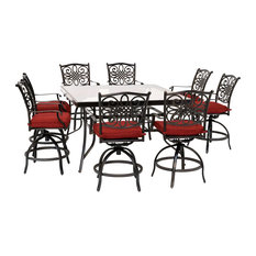 Traditions 9-Piece High-Dining Set, Red With 8 Swivel Chairs