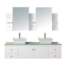 "Portland 72"" Double Sink, Wall Mount Vanity Set, White"