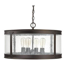 Capital Dylan 4-Light Outdoor Pendant, Damp Rated, Old Bronze