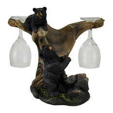Oh Honey Black Bears In a Tree Rustic Wine Bottle Holder with 2 Glasses