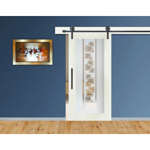 "Full Lite MDF Sliding Barn Door With Glass Insert Frosted Etched, 28""x81"", Right"
