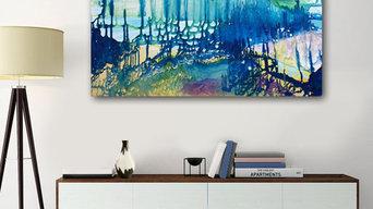 Картина Сумеречный лес.  Подлинник. Живопись на холсте 50х100 см.