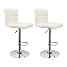 MOD - Morrison Faux Leather Adjustable Bar Stools, Set of 2, White - Bar Stools and Counter Stools