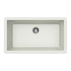 Houzer V-100U CLOUD Quartztone Granite Undermount Large Single Bowl Sink, White