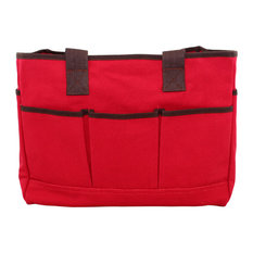 Monogrammed Utility Tote Red, Black Thread, Arial Font, A