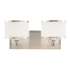 Basking Ridge 2-Light Bath and Vanity With Glass Shade, Satin Nickel