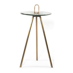 23.75-inch L Neera Accent Table Ribbed Glass Side Iron Antique Brass Modern
