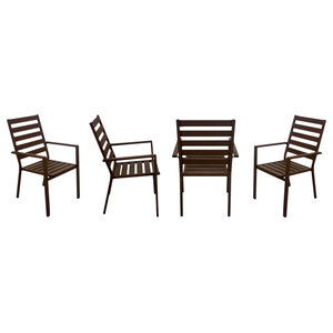 Outdoor Dining Chairs, Set of 4, Bronze