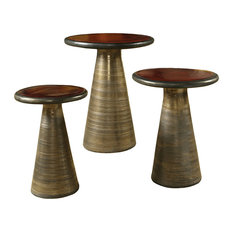 Kate Modern Round Red Top Gold Base Ceramic Outdoor Side End Table