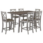 Standard Furniture - Fairhaven Counter Height Table and Four Chairs Set, Gray - With its smooth clean lines and comfortable X-back chairs,Fairhaven has a flexible kind of styling that gives it a go anywhere look. Finished in a two-toned oak reclaimed style plank and reclaimed rustic gray.
