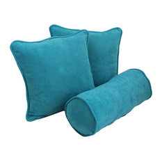Solid Microsuede Throw Pillows with Inserts, Set of 3, Aqua Blue
