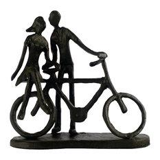 Elur Couple With Bicycle Iron Figurine