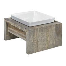 Artisan Rubberwood Single Elevated Dog Bowl Feeder, Fossil, Medium