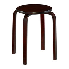 "Linon Bentwood 18"" Wood Round Stools Set of Four in Wenge Brown"