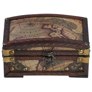 Traditional Storage Chest, Solid Wood and Metal Construction, Madrid Design