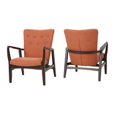 GDF Studio Suffolk French Style Fabric Arm Chairs, Orange, Set of 2