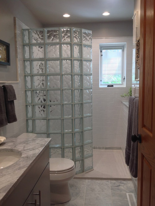 Guest Bathroom Remodel With Walk In Glass Block Shower And Stone - Bathroom remodel avon indiana