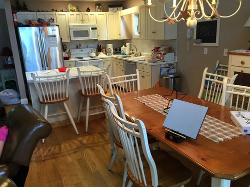 Give up kitchen table for island seating no other inside eating area first two pictures are our current kitchen two inspiration pictures follow we have no other indoor eating area but a large outdoor eating area thoughts watchthetrailerfo