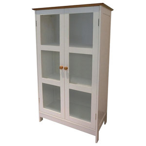 Traditional Storage Cabinet, MDF With 2 Glass Doors and Internal Shelves