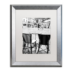 """""""Paris Cafe for 2"""" Framed Art by Yale Gurney, Silver, White, 16""""x20"""""""