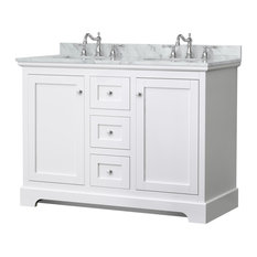 Avery 48-inch White Double Vanity Carrara Marble Top Oval Sinks No Mirror