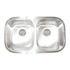 "Premium Series Stainless Steel 16 Gauge Double Bowl Kitchen Sink, 10""x10"""