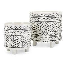 IMAX Home 25756-2 Ratlif Two Piece Hand Carved Ceramic Planter Set