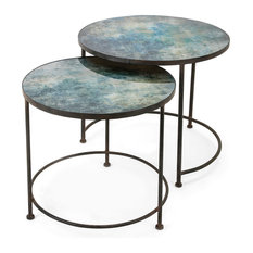 Paxton Metal and Printed Glass Tables, 2-Piece Set