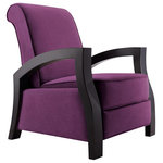 ARTIVA USA - Artiva USA Wood Java Black Premium Grey Microvelvet Recliner, Purple - Relax with this comfortable Smooth Java Black Solid Hardwood and Royal Purple Recliner Chair. Perfect eye catching exclusive design and a conversation piece. The neutral hues make this Recliner Perfect aadition to any home or office.