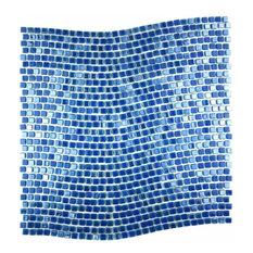 Miseno Comet Wave Pattern Glass Wall Tile Sheet, Blue Day