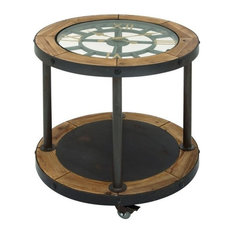 Benzara, Woodland Imprts, The Urban Port   Vintage Metal Wood Clock Side  Table