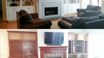 Family room Builtin Cabinet Makeover and tile surroud!!