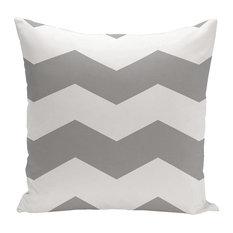 "Geometric Decorative Outdoor Pillow, Classic Gray, 18""x18"""